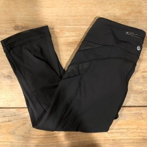 Lululemon Black Crop Mesh Leggings 6